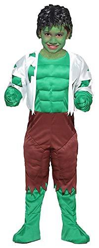 PICCOLI MONELLI Kostüm Hulk Kinder Kleid Mann grün mit warmem Muskeln Karneval 9 anni spalla a Terra 115 cm grün