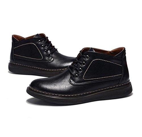 Chaussures De Travail Hommes Occasionnels Chaussures De Mode Super Fibres Souliers Automne Et Hiver Hommes Chaussures Noirpluscashmere
