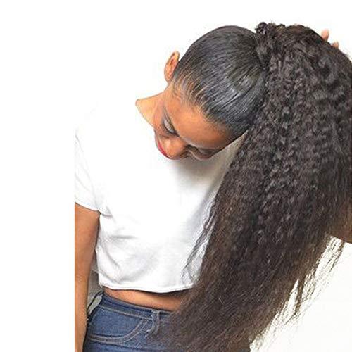 30,5cm kinky straight ponytail clip in hair extensions # 1b nero naturale 80grams brazilian hair extension clip in capelli umani coda di cavallo
