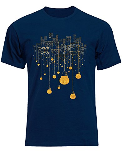 OVES City Lights Bulbs Buildings Surreal Crazy Yellow Golden Night Skyfall Mens Tee Shirt Top - Navy - 17 inches - Small