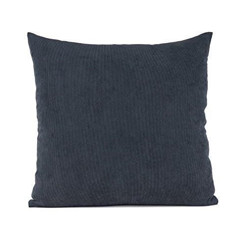 baibu Einfach Dekorativ Sofa Kissenbezug Kissenhülle mit verdecktem Reißverschluss aus Kord, 80x80cm Dunkelgrau