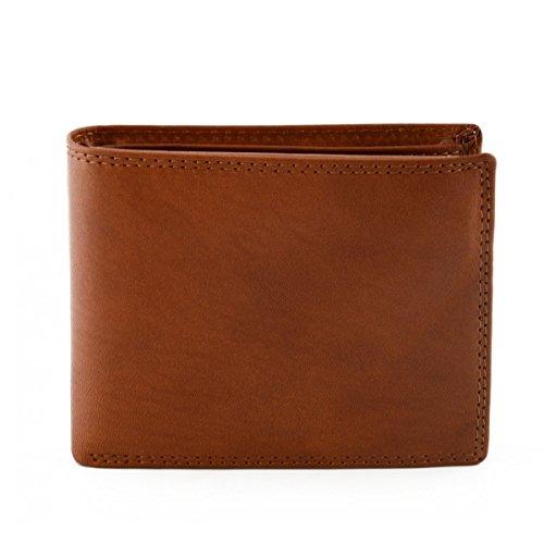 Portafoglio Per Uomo In Vera Pelle, 14 Tasche Portacarte Colore Marrone - Pelletteria Toscana Made In Italy - Accessori