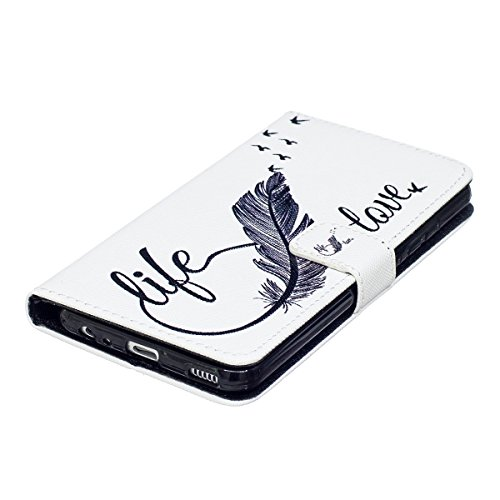 Custodia per Huawei P10 - Cover per Huawei P10 - ISAKEN Accessories Cover in PU Pelle Portafoglio Custodia, Elegante Embossed Pattern Design in Sintetica Ecopelle Libro Bookstyle Wallet Flip Portafogl LOVE piuma uccellini
