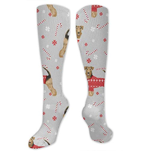 SHENGP Airedale Xmas Sweater Unisex Casual Pattern Crew Socks Long Socks Boy's Girl's 50cm
