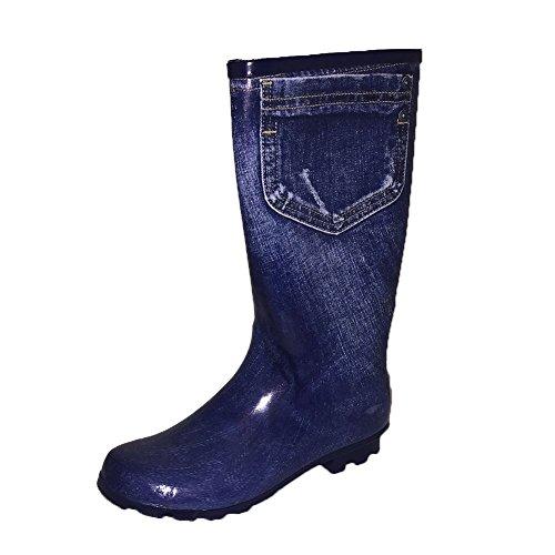sendit4me Stivali in Denim Blu con Stampa Jeans in Denim Blu