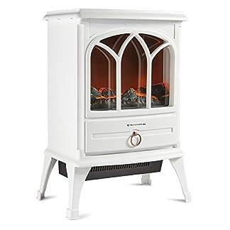 Trueshopping Calefactor Chimenea Eléctrico – Moderno Calefactor de 1800 Vatios con Intenso Efecto de Leña Ardiendo, 2 Modos de Calefacción y Control de Termostato – Crema