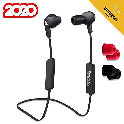 KLIM Pulse Bluetooth 4.1 In-Ear Kopfhörer 2019 Version Kabellose Kopfhörer – Geräuschreduzierung – Perfekt für Sport, Musik, Anrufe, Gaming - Magnetisch + Memory Schaum Ohrstöpsel Schwarz thumbnail