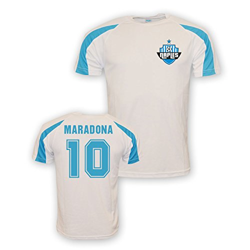 UKSoccershop Diego Maradona Napoli Sports Training Jersey (white) (Napoli Soccer Shirt)