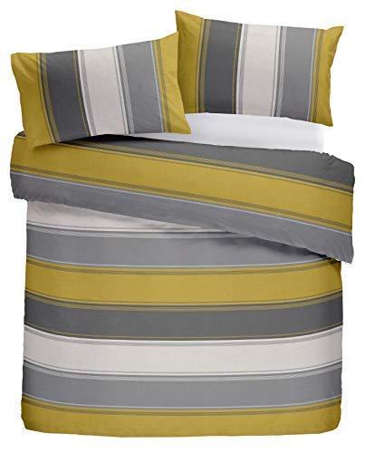 Klassisch Breite Streifen Gold Gelb Grau Creme-Baumwolle Mischung Kingsize-Bettbezug -