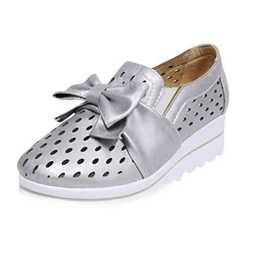 Floweworld Damen Wedge Freizeitschuhe Slip on Outdoor Fashion Mesh atmungsaktiv flach mit Bow Walking Beach Schuhe -