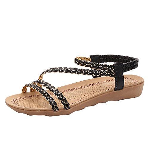 Bescita Neue Flache Schuhe Frauen Weben Sandalen Zuhause Sandalen Sommerstrand Schwarz