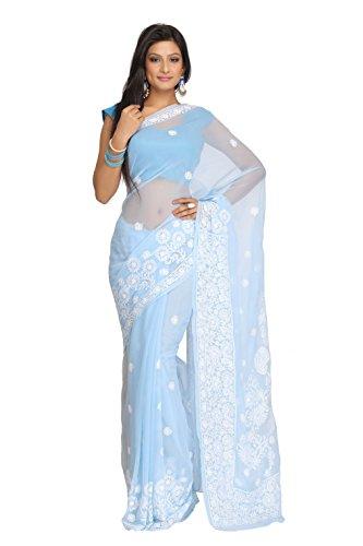 ADA Hand Embroidery Traditional Chikankari Festive Wear Ethnic Georgette Saree Dress A130134