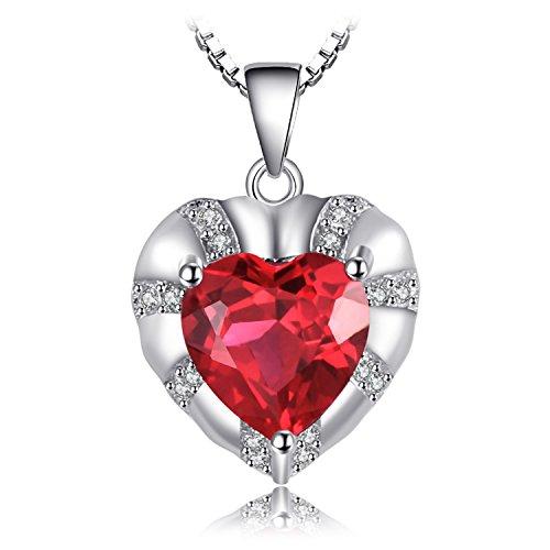 JewelryPalace Love Heart 2.8ct Erstellt Rubin Anhänger Halskette 925 Sterling Silber 18 Zoll