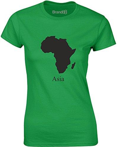 Brand88 - Asia, Mesdames T-shirt imprimé Vert/Noir