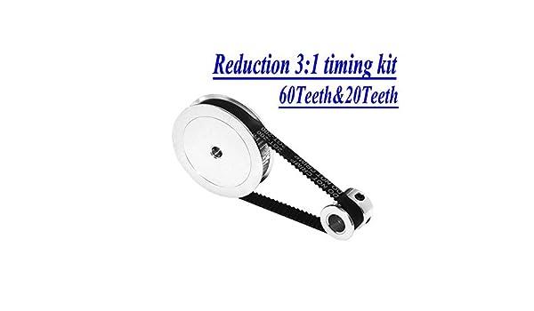 1//1 3 Stampante 3D Accessori Larghezza della Cinghia 6 Millimetri Bore 5 e 810 Millimetri. Size : 20T5 60T5 200mm NO LOGO HWW-Belt 1pc Cinghia puleggia GT2 60teeth 20teeth Riduzione 3