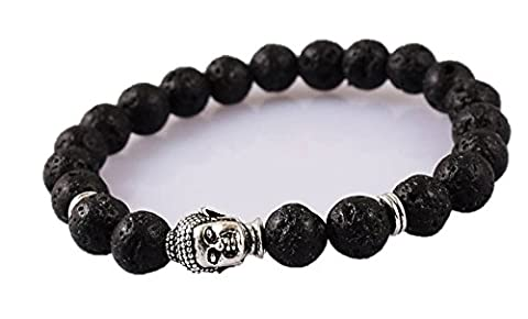 Volcanic Lava Power Healing Bracelet with Silver Buddha Head Charm.