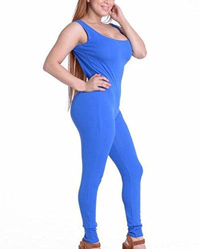 Auxo 10 Couleurs Femme Sexy Dos Nu Sans Manches Débardeur Serré Sports Clubwears Combinaisons Bleu clair