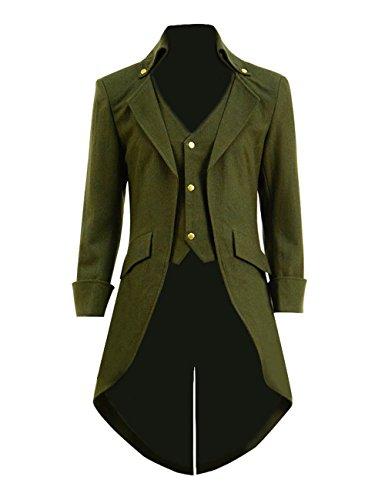 Qian Qian Herren Vintage Frack Jacke Gothic Steampunk Viktorianischen Mantel Karneval Vampir Kostüm Smoking Jacke Uniform (XL, Grün ()