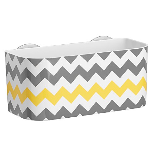 InterDesign Una Suction Shower Basket, Plastic Shower Caddy with Two Suction Cups, Grey/Yellow/Chevron