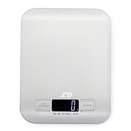 latec Digitale Küchenwaage (Kapazität: 5kg/11lb, Teilung: 1g/0.1oz), Mini Waage elettronicha, persöliche-Tasche der Braut Der Lebensmittel mit Display LCD, funktioniert für Tarare (Rhône), Plattform der Edelstahl, Batterien 2x AAA inkl.