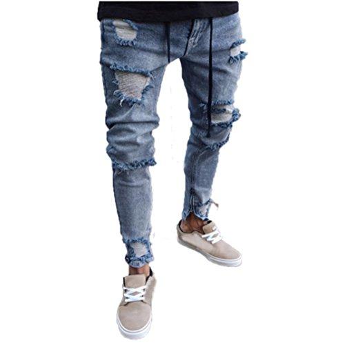 Yesmile uomo sottile biker jeans zip denim,jeans uomo strappati pantaloni slim fit moto vintage jeans denim hip hop streetwear elasticizzati da uomo jeans skinny fit casual biker strappati distrutto taglio straight pantaloni (xxxl, blu3)