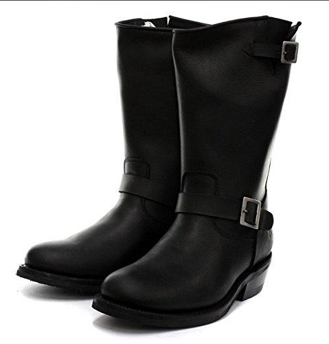 Grinders New Rebel noir unisexe en cuir lisse Sole Bikers Western High Bottes avec High et Low Side Buckle Straps