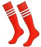 Westeng 1Paar hohe Kniestrümpfe für Damen und Herren, Cheerleading, für Fußball, Baseball, Basketball, aus Baumwolle., rot