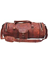 bcffcb7574 CRAFAT Vintage Leather Gym Workout Travel Weekend Round Duffel Bag for Men