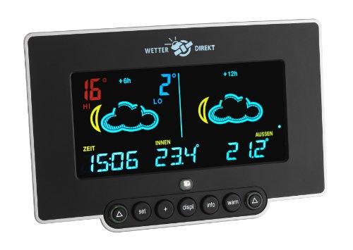 TFA Dostmann Neon 300 satellitengestütze Funk-Wetterstation, 35.5054, Farbdisplay, mit Wetterwarnung und Profi-Wetterprognose