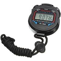Reloj digital de deportes - TOOGOO(R) Reloj digital de deportes de cronometro de temporizador de multifuncion LCD con cuerda de color negro