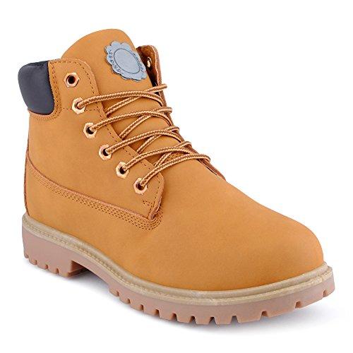 Fusskleidung Herren Outdoor Boots Wander Stiefel Stiefeletten Worker Kamel EU 43