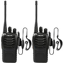 NEUNI N15 Set de 2 Walkie Talkie, alcance de hasta 3 km, UHF 400-470, MHz CTCSS, color negro