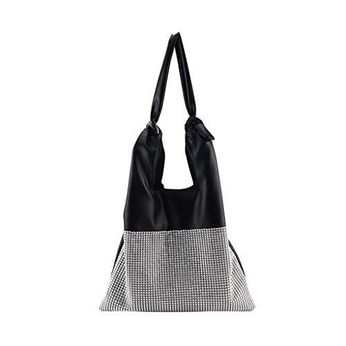 Serria® Wiederverwendbare Einkaufstüten mit Pailletten-Griff Tasche aus weichem Leder Diamonds Large Maschinenwaschbar Umweltfreundlich, faltbar, langlebig, ideal für Basteltaschen -