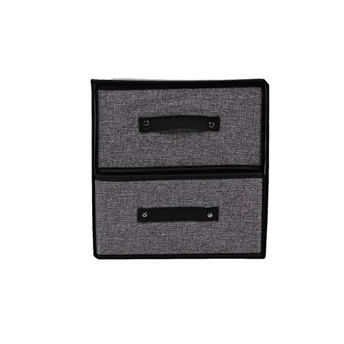 Archiba Storage box Waschbare Aufbewahrungsbox Schublade Großräumige Gefaltete Zwei Schichten Schublade Organizer Kleidung Spielzeug Aufbewahrungsboxen Bins, Dunkelgrau -