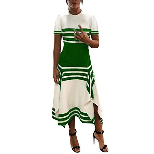 Lucky Mall Frauen Mode Streifen Kurzärmliges Kleid mit Unregelmäßiger Saum, Damen Rundhals Tank Rock Sommer Lässiges Lockeres Kleid Strandrock Urlaubsrock Festkleid (Für Alltags-kleider Mädchen)