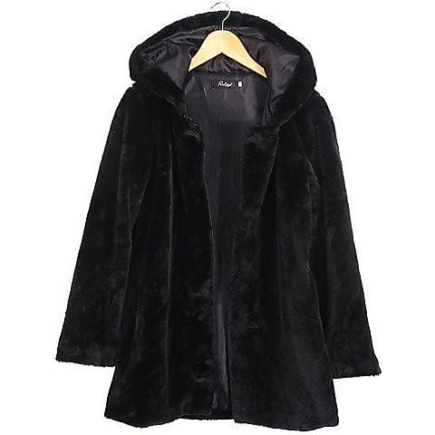 La mujer de la calle/Diario casual elegante chaqueta de piel de gran tamaño,sólido de manga larga con capucha negra de invierno,Negro,S