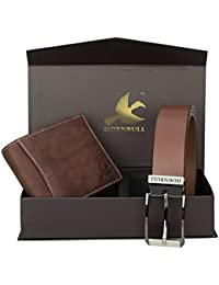 Hornbull Men's Brown Wallet and Brown Belt Combo BW9389