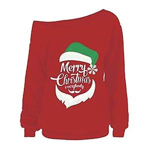 ZIYOU Damen Christmas T Shirt Tops/Schulterfrei Pullover/Weihnachten Brief Printed Langarm Sweatshirt/Frauen Bluse Oberteile Merry Christmas
