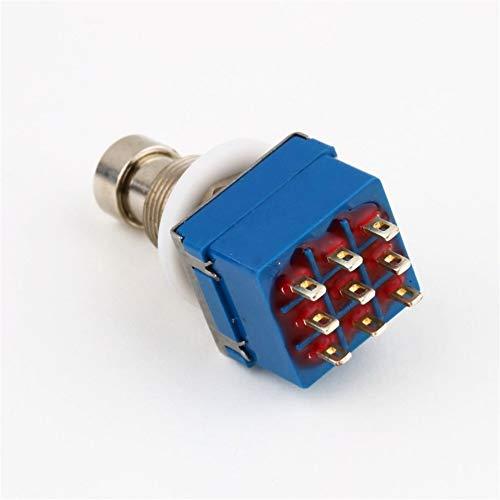 gfjfghfjfh 9-polig 3PDT Effekte-Pedal Box Stomp Fuß Metall True Bypass praktische Metall Schalter Gitarrenzubehör Blau Switch & Silber