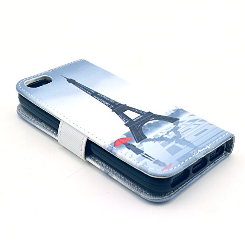 Coque pour Apple iphone SE 5 5S,Housse en cuir pour Apple iphone SE 5 5S,Ecoway Colorful imprimé étui en cuir PU Cuir Flip Magnétique Portefeuille Etui Housse de Protection Coque Étui Case Cover avec  A-4