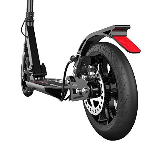 Xian BF Kickscooter Erwachsener Tretroller mit Scheibenhandbremse, Doppelaufhebung Pendler Scooter, Einstellbare Höhe   Unterstützt 330lbs for Adults (Color : Black, Size : 94×13×91-106cm)