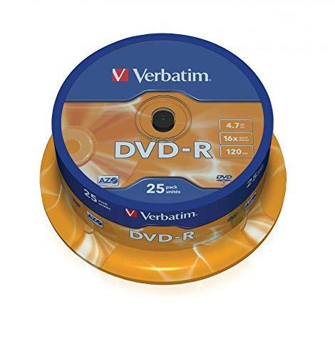 Verbatim 43522 4.7GB 16x DVD-R Matt Silber - 25 Pack Spindel