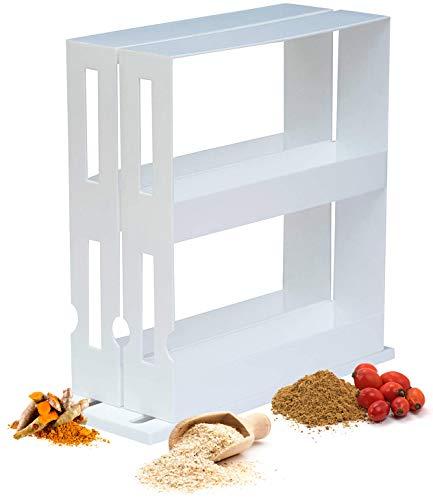 T.R.I. International Gewürzregal - ausziehbarer, drehbarer Gewürzständer für den Küchenschrank, weiß