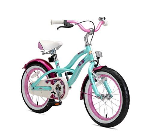 BIKESTAR Bicicleta Infantil para niños y niñas | Bici 16 Pulgadas | Color Turquoise | Frenos de Tiro Lateral y Freno de contrapedal | A Partir de 4 años | 16' Edición Cruiser 2018