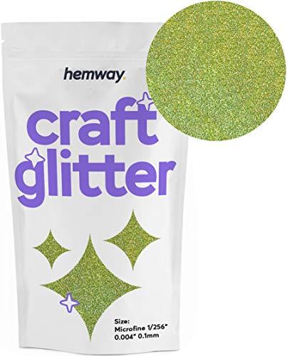 Hemway Glitzerpulver zum Basteln 100g, mikrofein, 0,1 mm, Lime Green Holographic