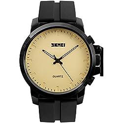 Sport Outdoor Waterproof Big Dial Silicone Strap Quartz Men Boy Wrist Watch,Yellow