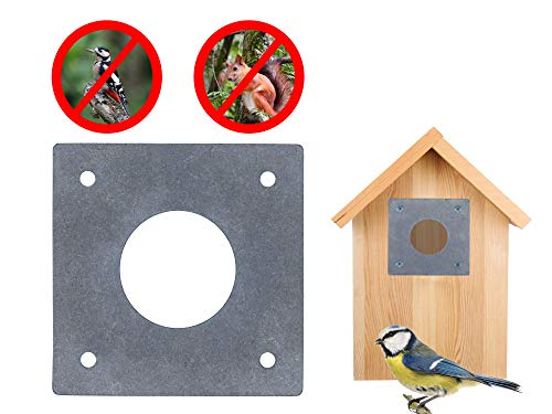 Gardemics Spechtschutz für Nistkasten & Nisthöhlen - Zubehör für Nistkasten - Flugloch-Schutz für Meisen - Gratis eBook (28+32 mm Set)