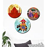 Furnishing Factory (Set Of 3) Wooden Wall Plates | Wooden Wall Frames For Living Room Without Glass