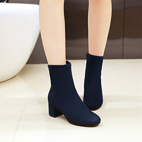 ZQ@QX In autunno e in inverno per il lato ruvido della testa con un design elegante e minimalista e versatile, Cilindretto corto Stivali Stivali femmina blue