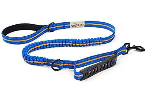 Elastische Hundeleine mit Neoprengriff | Stoßdämpfende & reflektierende Sportleine für Hunde | Flexible Laufleine dehnbar von 120-165 cm | Leichte Leine mit stabilem Bungee-Seil von DOGTASTIC |